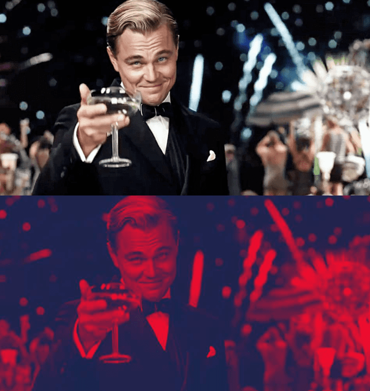 Jay Gatsby holding wine class in normal color and duotone.